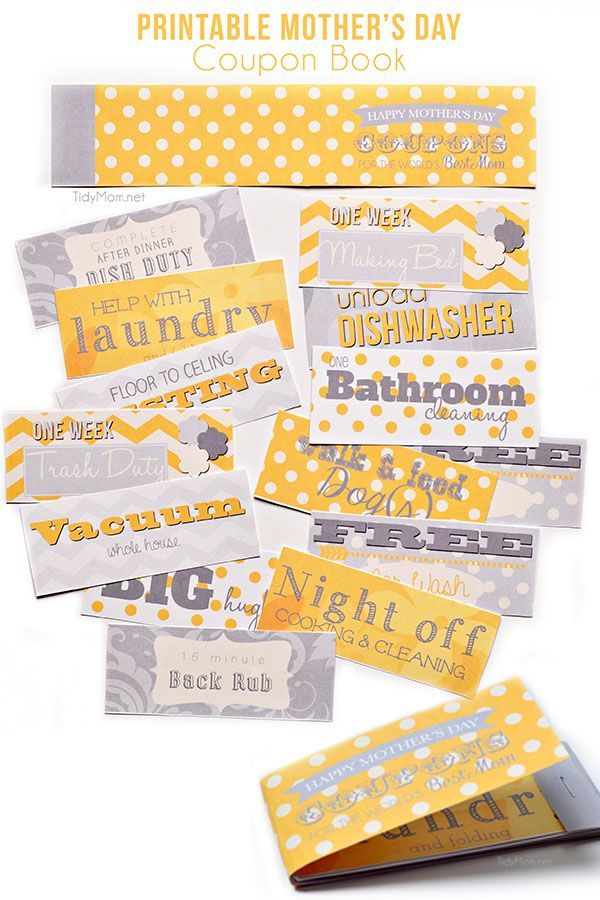 Free printable Mother\u0027s Day Coupons Gift ideas Pinterest Free - Coupon Book Printing