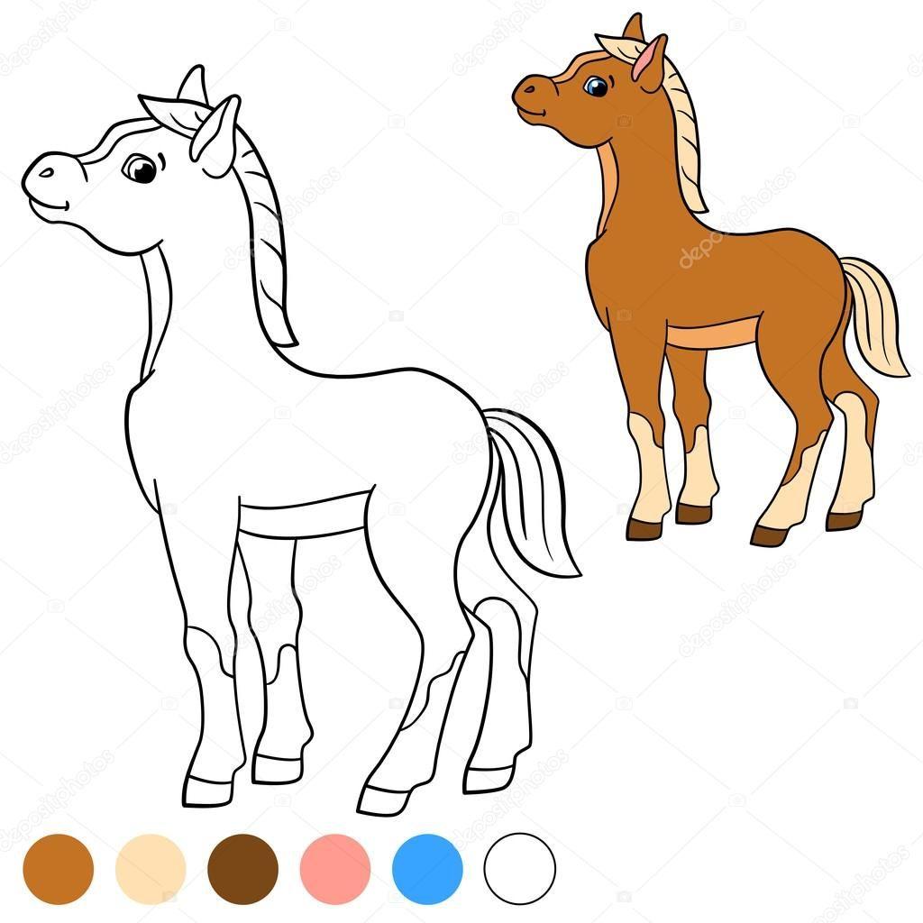 Kleurplaat Kleur Me Paard Kleine Schattige Veulen Stockvector C Ya Mayka 115487738 Kleurplaten Paarden Kleuren