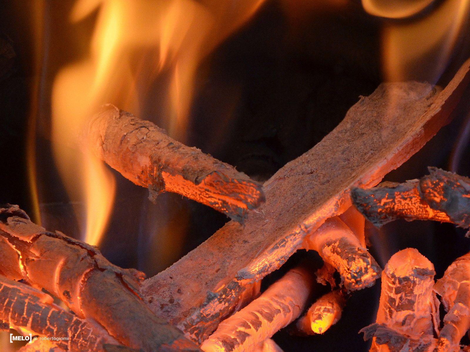 burning wood.