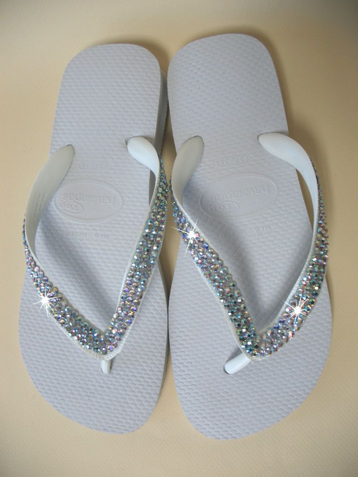 b24b21339 White Crystal Flip Flops with Crystals  134.95....But can buy Old Navy flip  flops and bling myself for a lot cheaper