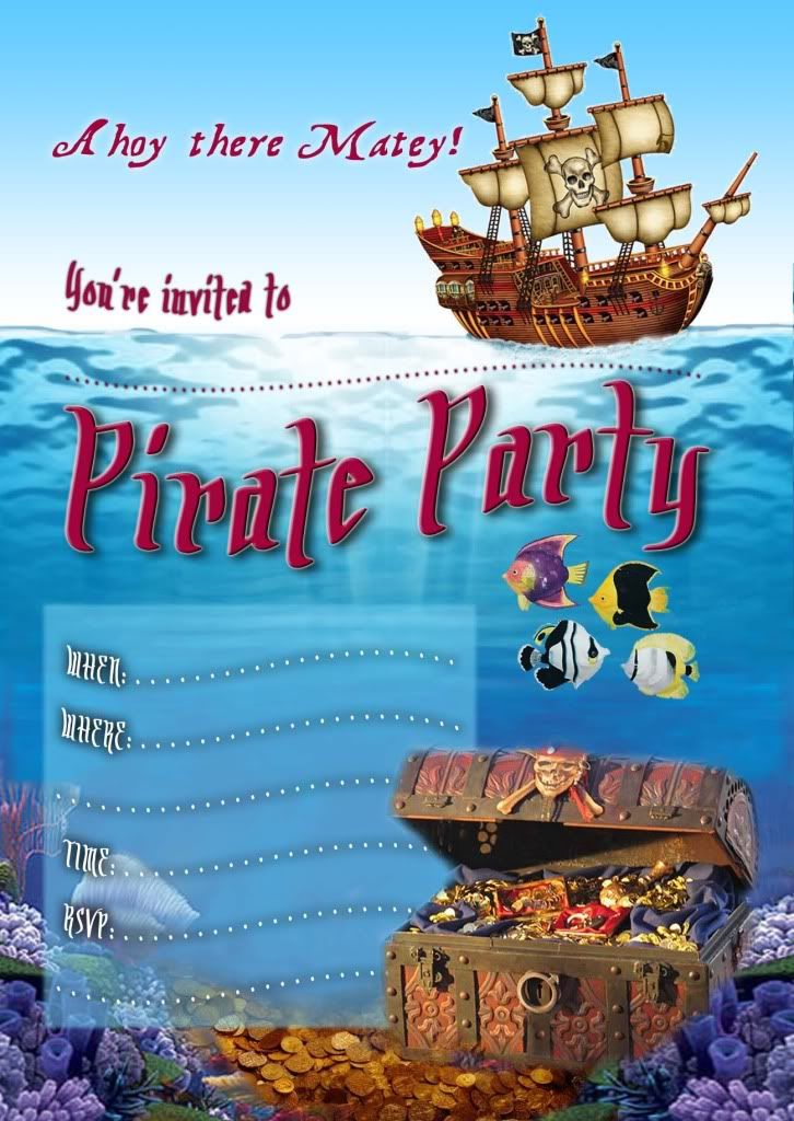 Free Editable Pirate Invitations | Party ideas | Pinterest | Pirate ...