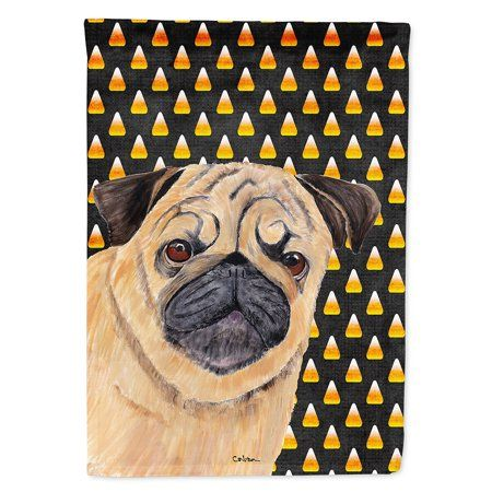Pug Candy Corn Halloween Portrait Garden Flag Pugs Candy Corn