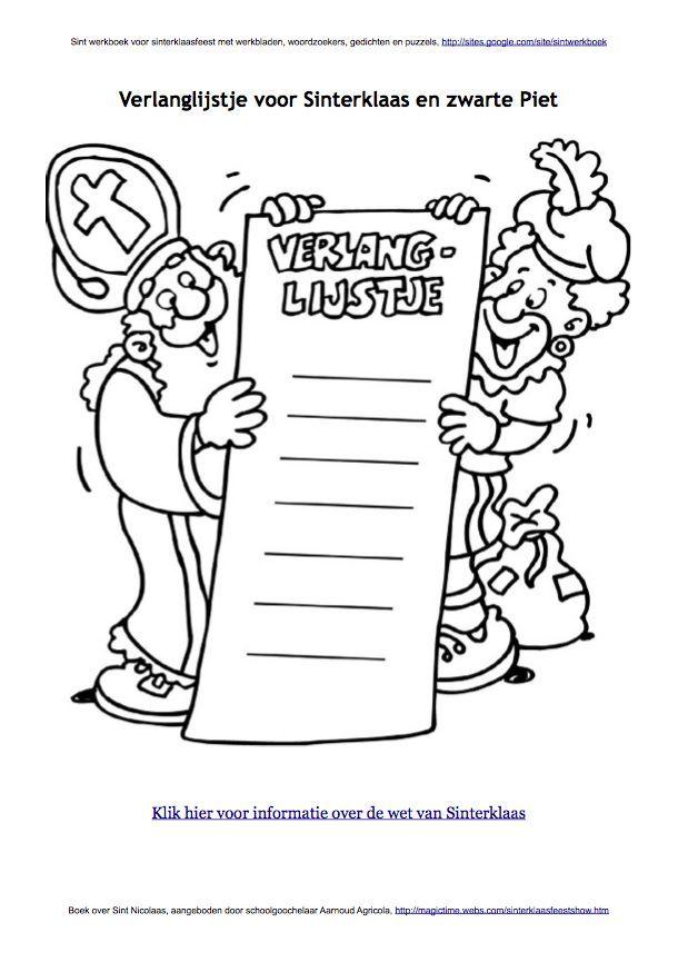 Kleurplaten Sinterklaas Lijstje.Verlanglijst Sinterklaas En Zwarte Piet Kleurplaat Sint Werkboek