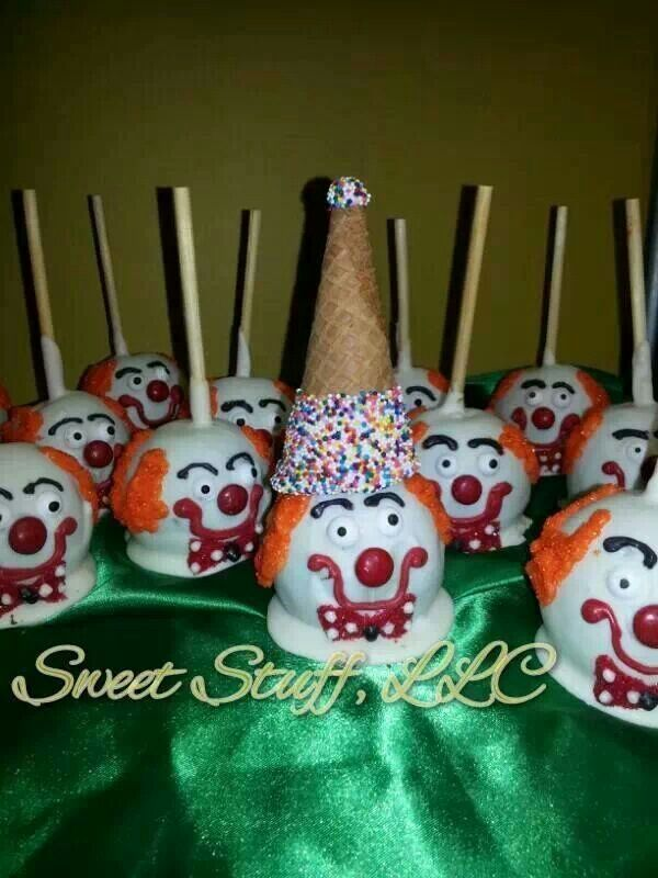clown candy apples chocolate