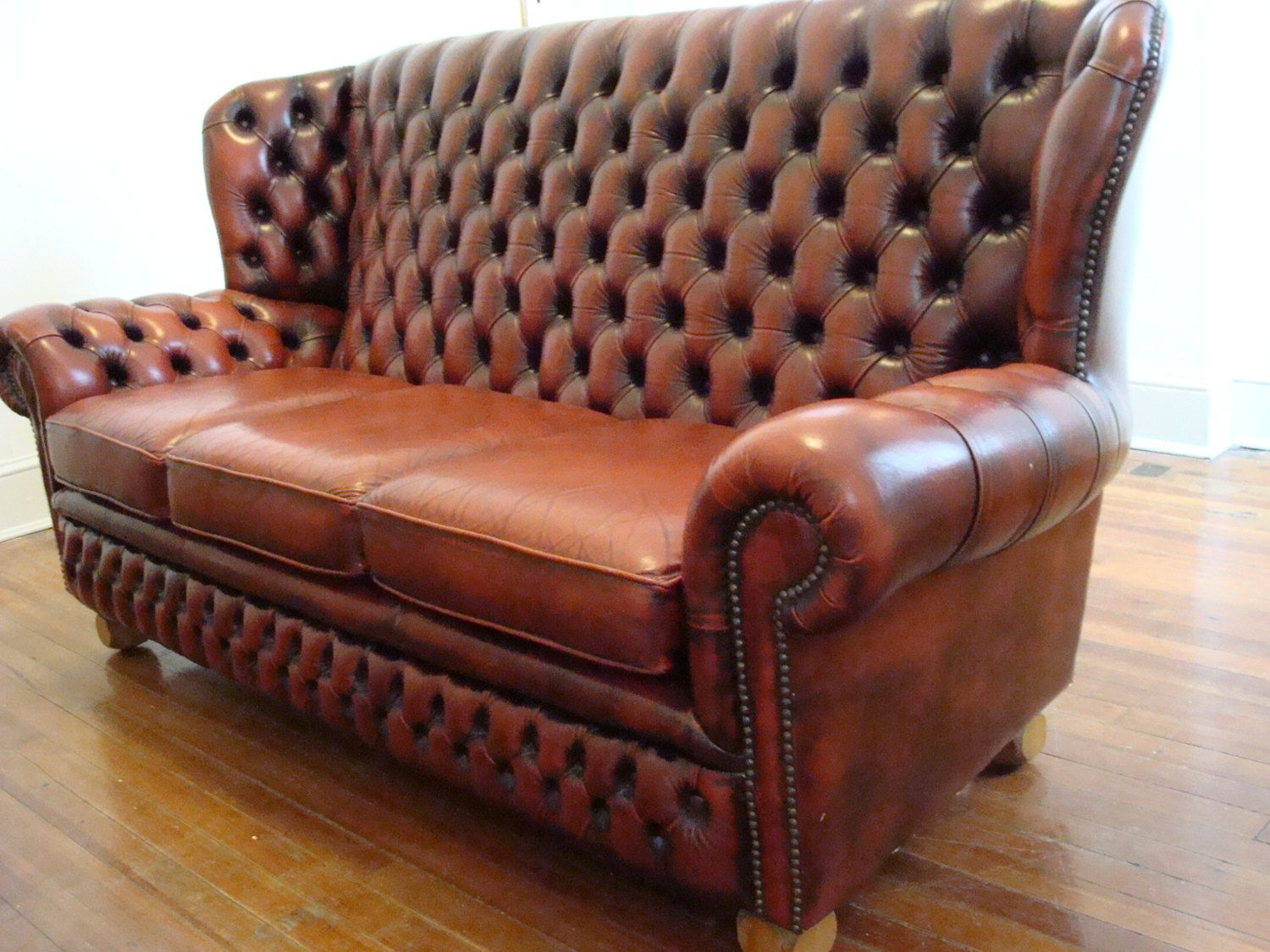 Gorgeous Vintage English Monks Chesterfield Sofa Tufted High Wing