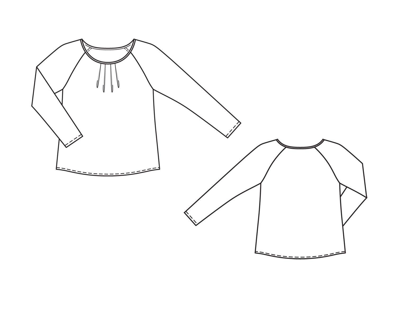 6d6be29173f Блузка с рукавами реглан - выкройка № 135 из журнала 10 2014 Burda – выкройки  блузок на Burdastyle.ru