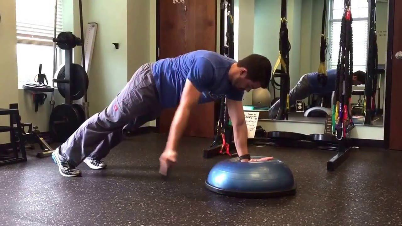 BOSU shoulder stability 1 YouTube Ball exercises