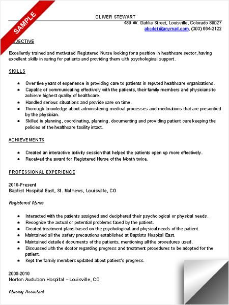 RN Resume Sample Resume Examples Pinterest Rn resume, Nurse - sample resume for a nurse