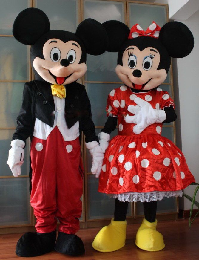 fc07f1c79bcaf Birhtday Party Mickey Minnie Mouse Mascot Costume Suits Adult ...