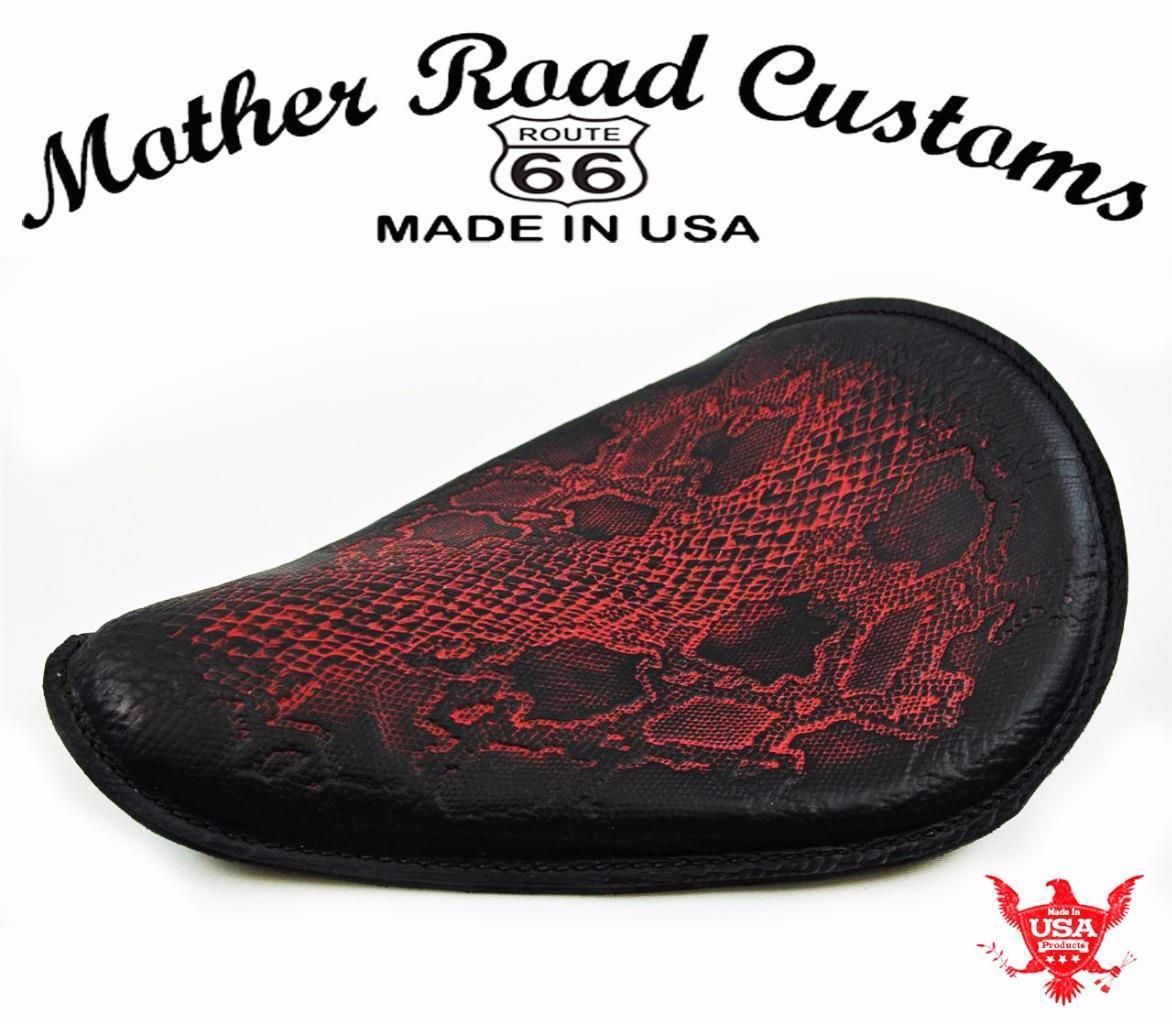 Mother Road Customs Ant Red Python Leather Spring Seat Chopper ...