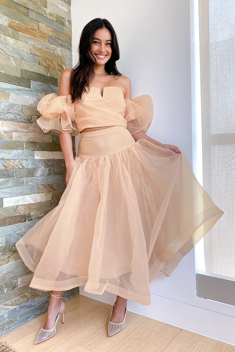 Make Your Debut Beige Organza Puff Sleeve Two Piece Midi Dress Necklines For Dresses Dresses Beige Dresses [ 1125 x 750 Pixel ]