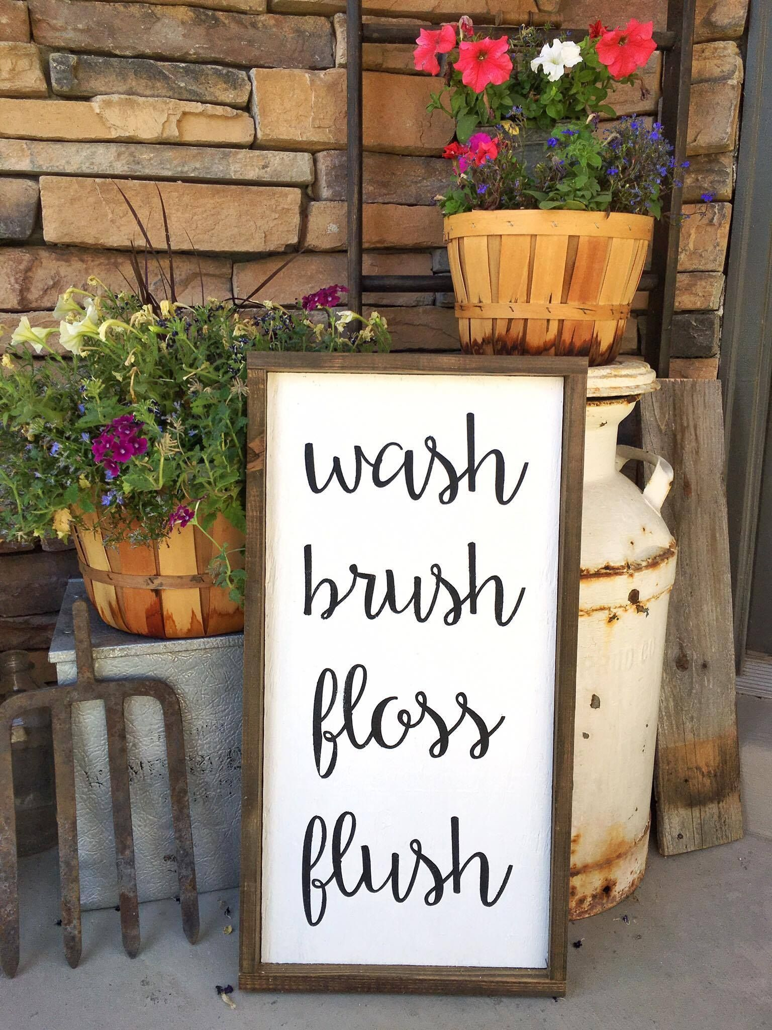 Robinet Salle De Bain Weldom ~ bathroom wash brush floss flush sign for the home pinterest