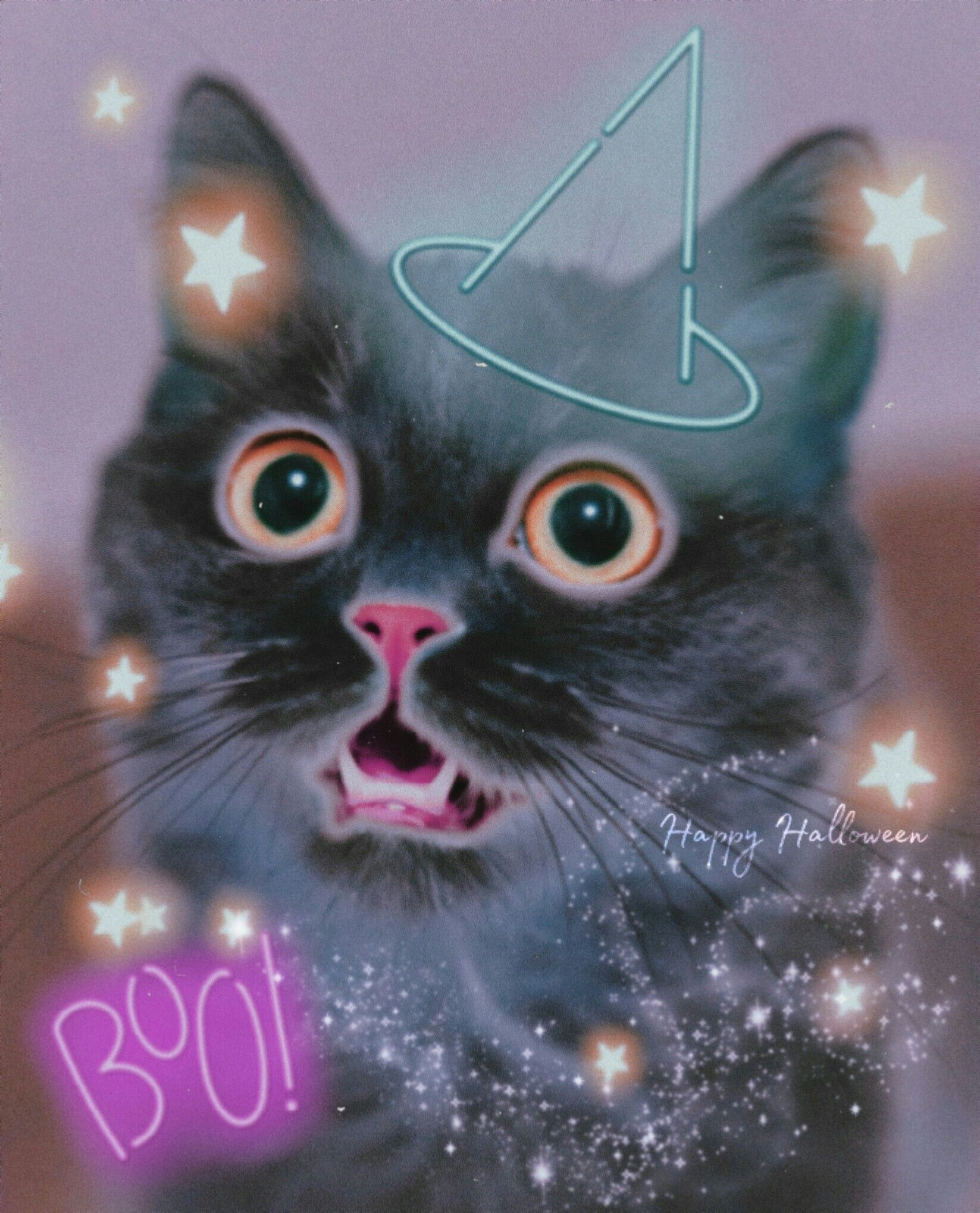 #halloween #spooky #madewithpicsart #madebyme #cat #cute #magical #stars #witchhat #colorful @picsart Op from @freetoedit, stars sticker from @pann70