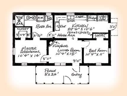 South Texas Gable Roof Adobe House Plan 1248