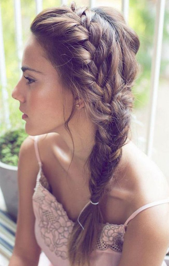 simple plaited hair wedding
