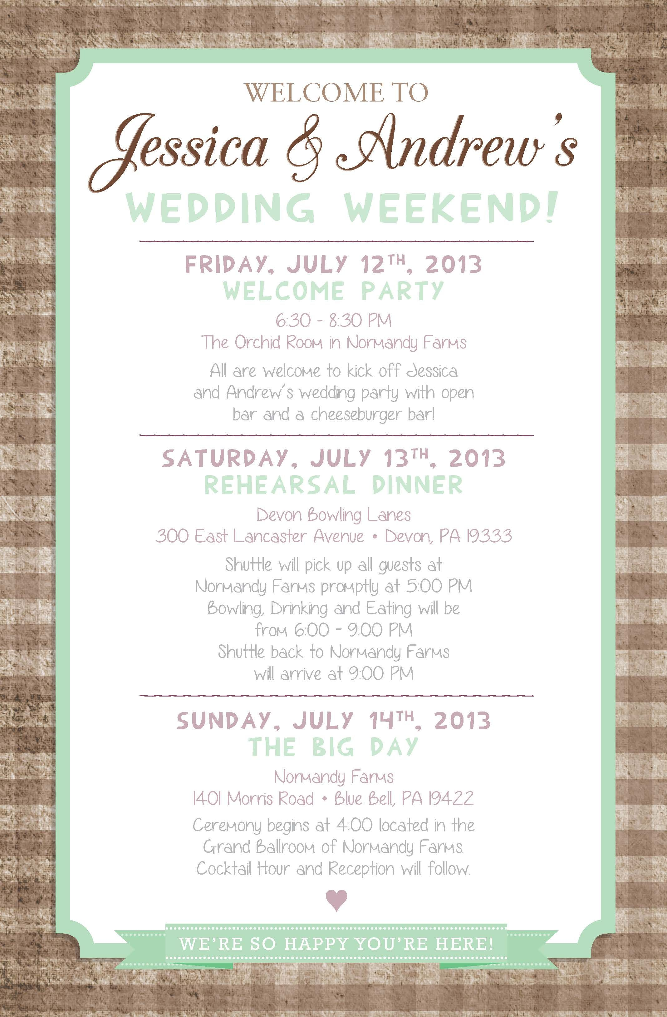 country chic wedding weekend itinerary  by paper  u0026 lace
