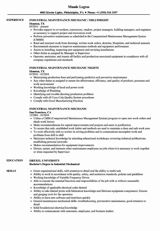 Mechanic Job Description Resume Lovely Industrial Maintenance Mechanic Resume Samples In 2020 Job Resume Examples Resume Examples Manager Resume