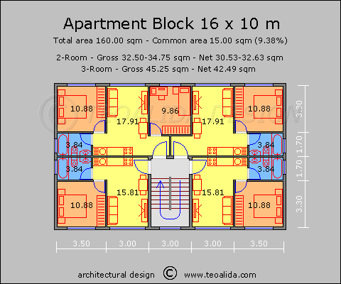 Small Apartment Block With 3 Room Flats Apt Plan