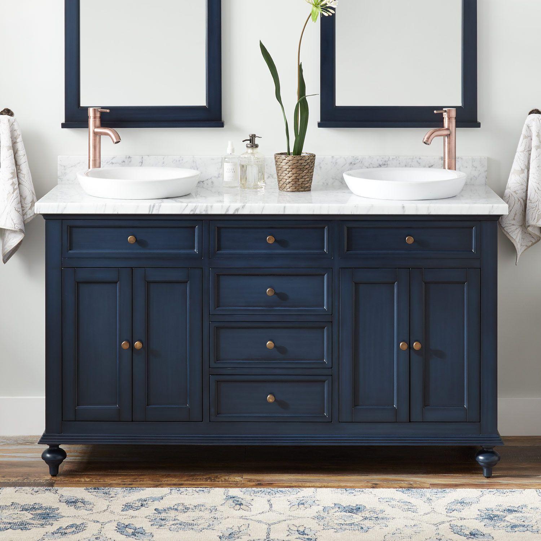 60 Keller Double Vanity For Semi Recessed Sinks Vintage Navy Blue Double Sink Vanities Blue Bathroom Vanity Small Bathroom Vanities Double Vanity Bathroom
