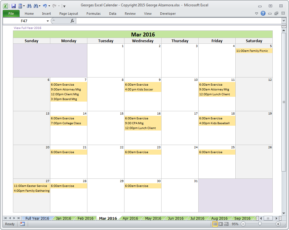 Georges Excel Calendar Year   Year