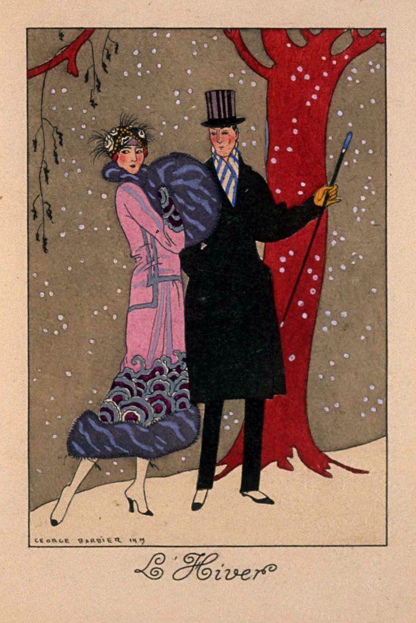 L Hiver Illustration By George Barbier Art Deco Posters Art Deco Illustration Art