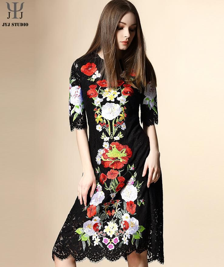 Aliexpress.com : Buy Black Flower Embroidery Dress For Women O neck Retro Vintage Lace Embroidery Dress Sexy Lace Ladies Office Dress Petal Sleeve from Reliable dress romantic suppliers on JYJ STUDIO | Alibaba Group