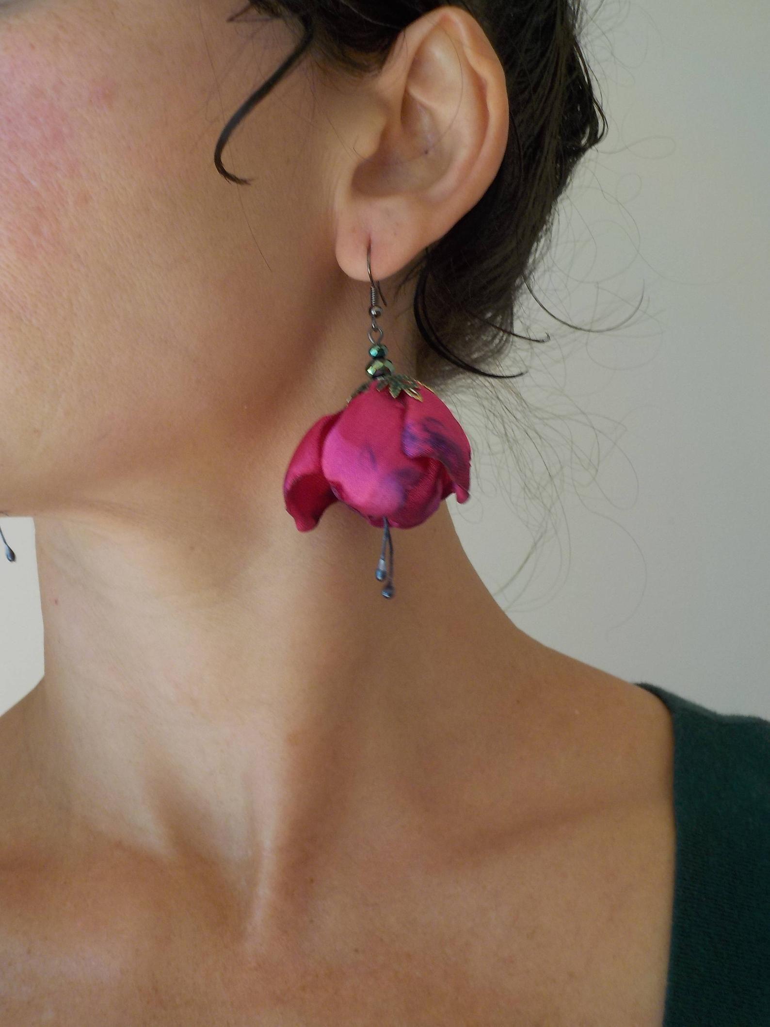 Hot Pink Fabric Flower Earrings Fuchsia Flower Tango Flamenco Bellydance Fairy Earrings Hand Made Unique Flower Earrings Fabric Earrings Fabric Jewelry Flower Earrings