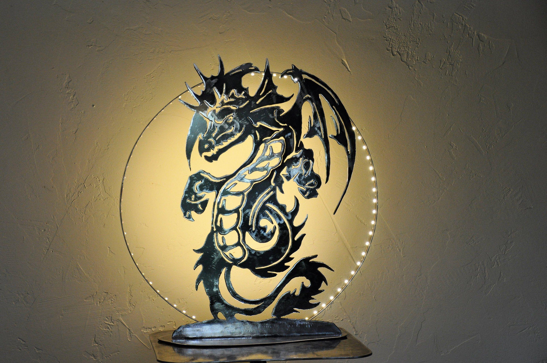 Lamp Dragon Silhouette Dragon Lighting Handmade Dragon Table