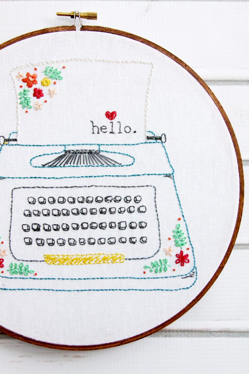 Hello love retro floral typewriter embroidery pattern in