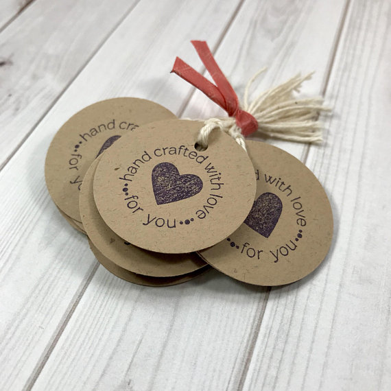 Hand Crafted With Love Tags Dimensions 1 3 8 Set Of 12 Polka Dot Bag Not Included Heres A Sweet Little Tag For You To Attach All Your Items
