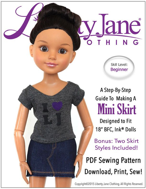 Pixie Faire Liberty Jane Mini Skirt Doll Clothes Pattern for 18 inch ...