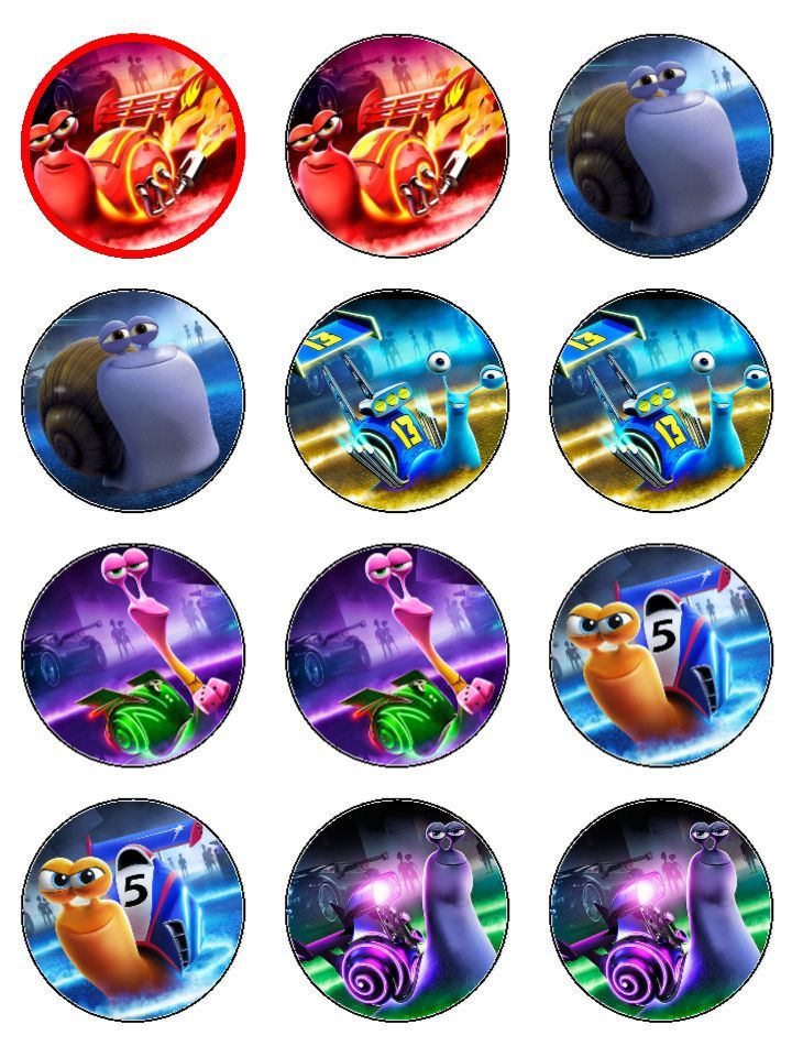 Turbo movie edible icing cupcake toppers 54mm