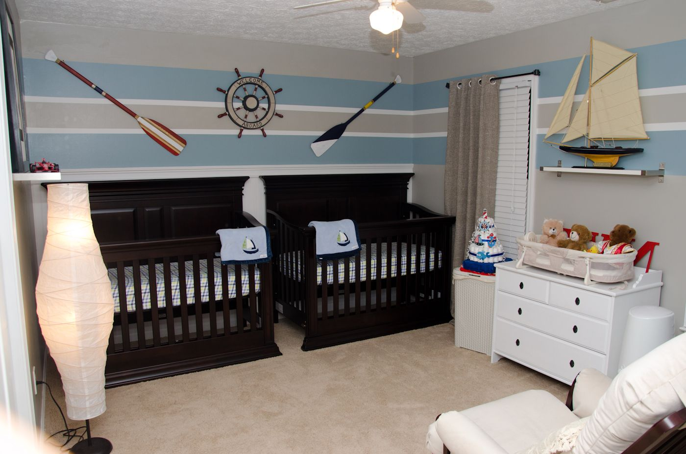 Nautical Themed Bedroom Baby Boy Nursery Nautical Theme Oars Twins Stripes Twin Boys