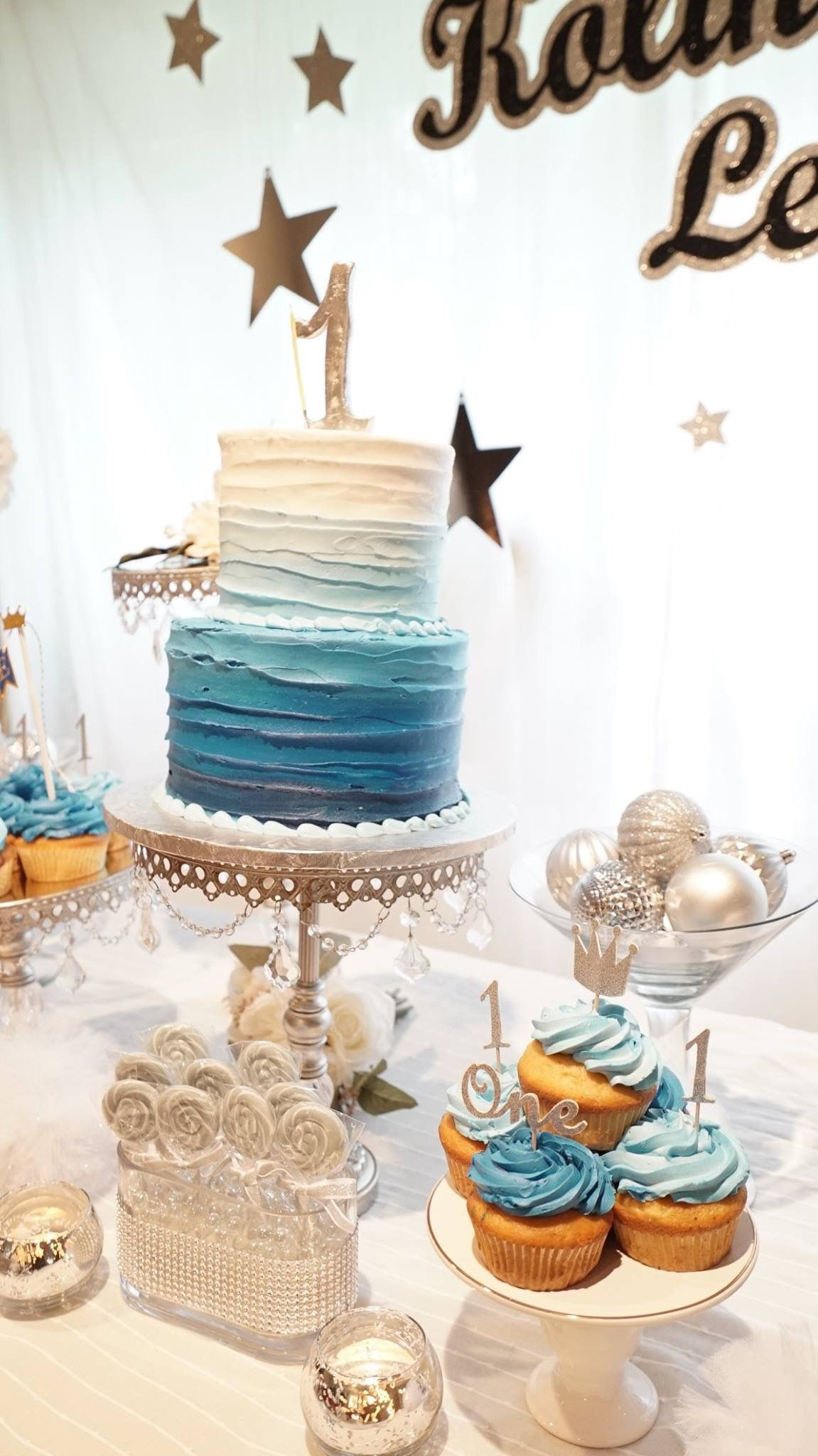 Ombre Blues 2 Tiered Cake Baby Birthday Cakes Baby Boy
