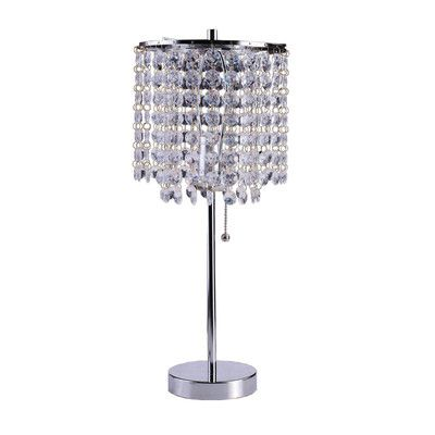 Ore Furniture 20 25 Quot Decorative Glam Table Lamp With Drum Shade Chandelier Table Lamp Glam Table Lamps Crystal Table Lamps