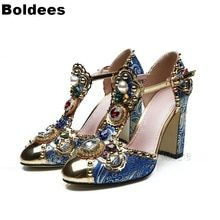 e86127a6d Luxury Vintage Designer Blocked Heeled T Straps Gemstone Pearls Decorate  High Heel Peep Toe Sandals Women Summer Shoes(China)