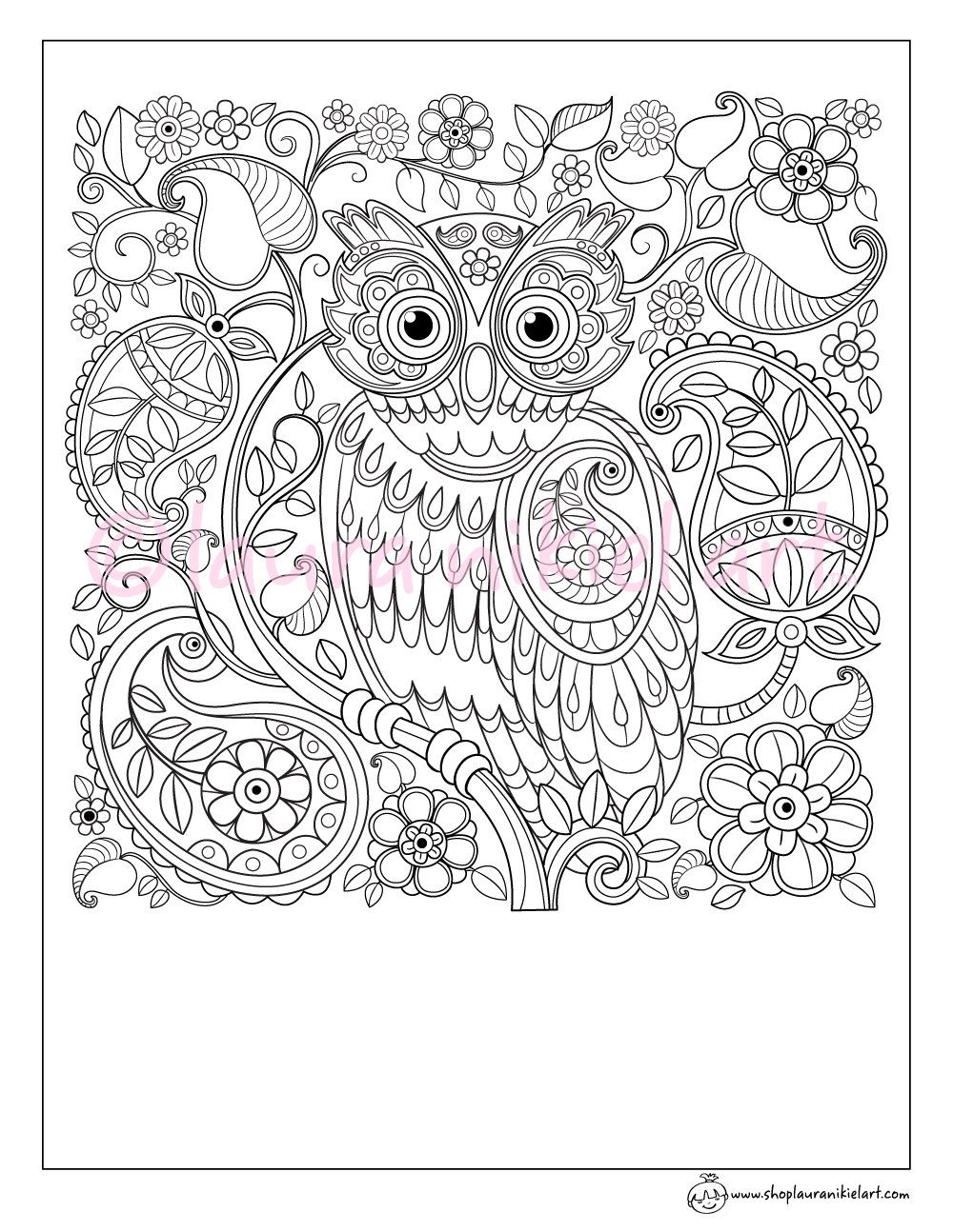 Cute Owl Paisley Pattern Adult Coloring Page - Coloring ...