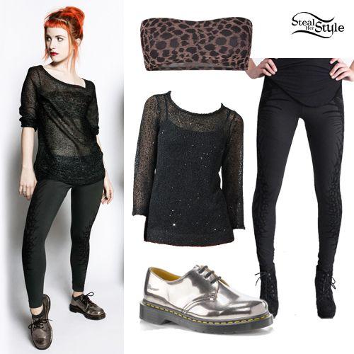 Hayley Williams Skeleton Leggings Outfit   Fashionista   Pinterest   Skeleton leggings and ...