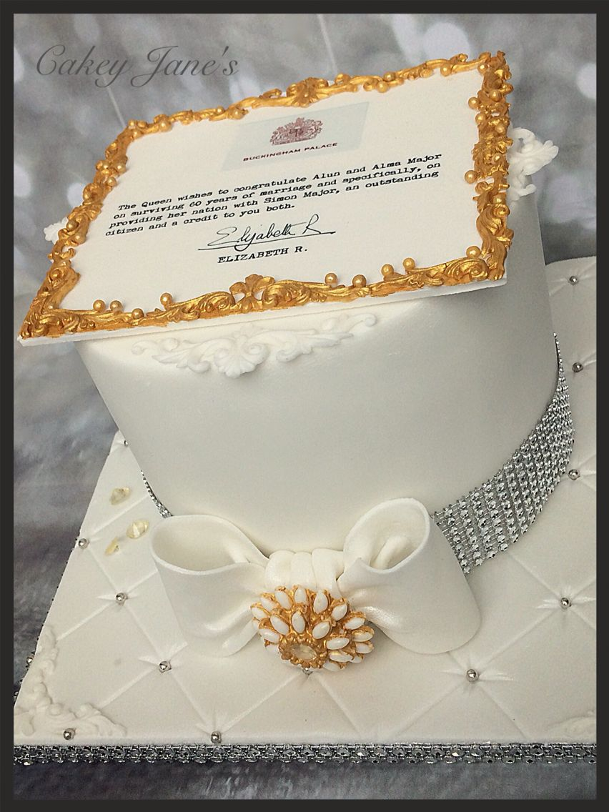 Personalised Letter From The Queen Diamond Anniversary Cake Chocolate And Orange Layer Cake Diamond Anniversary Cake Diamond Wedding Cakes Anniversary Cake