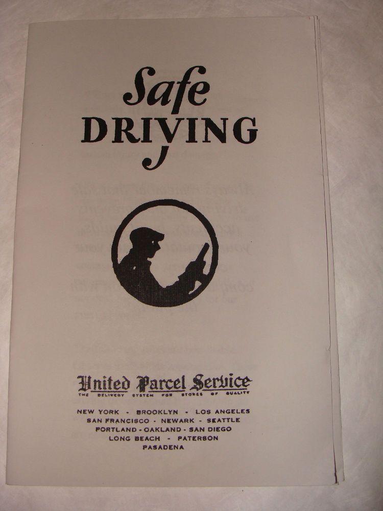 United Parcel Service UPS Vintage Safe Driving J Safety
