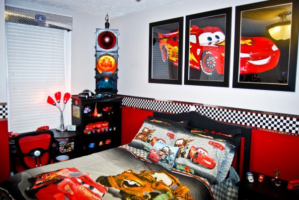 Disney cars bedroom use three 20x30 frames to make a for Boy car bedroom ideas