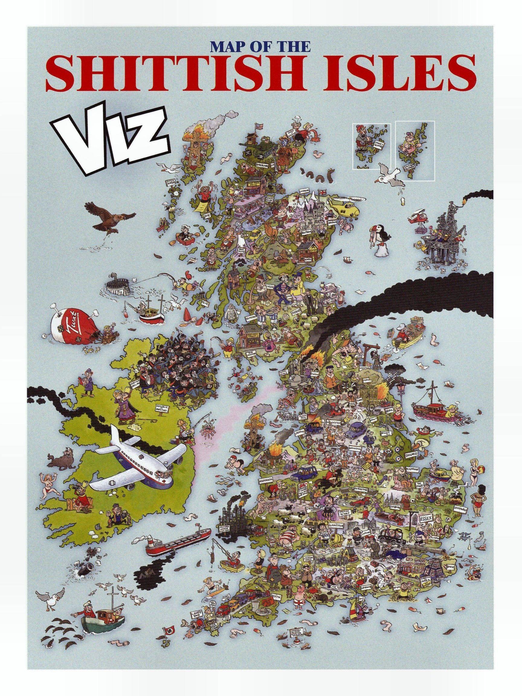 Offensive map of Britain by British satirical Magazine Viz 2400
