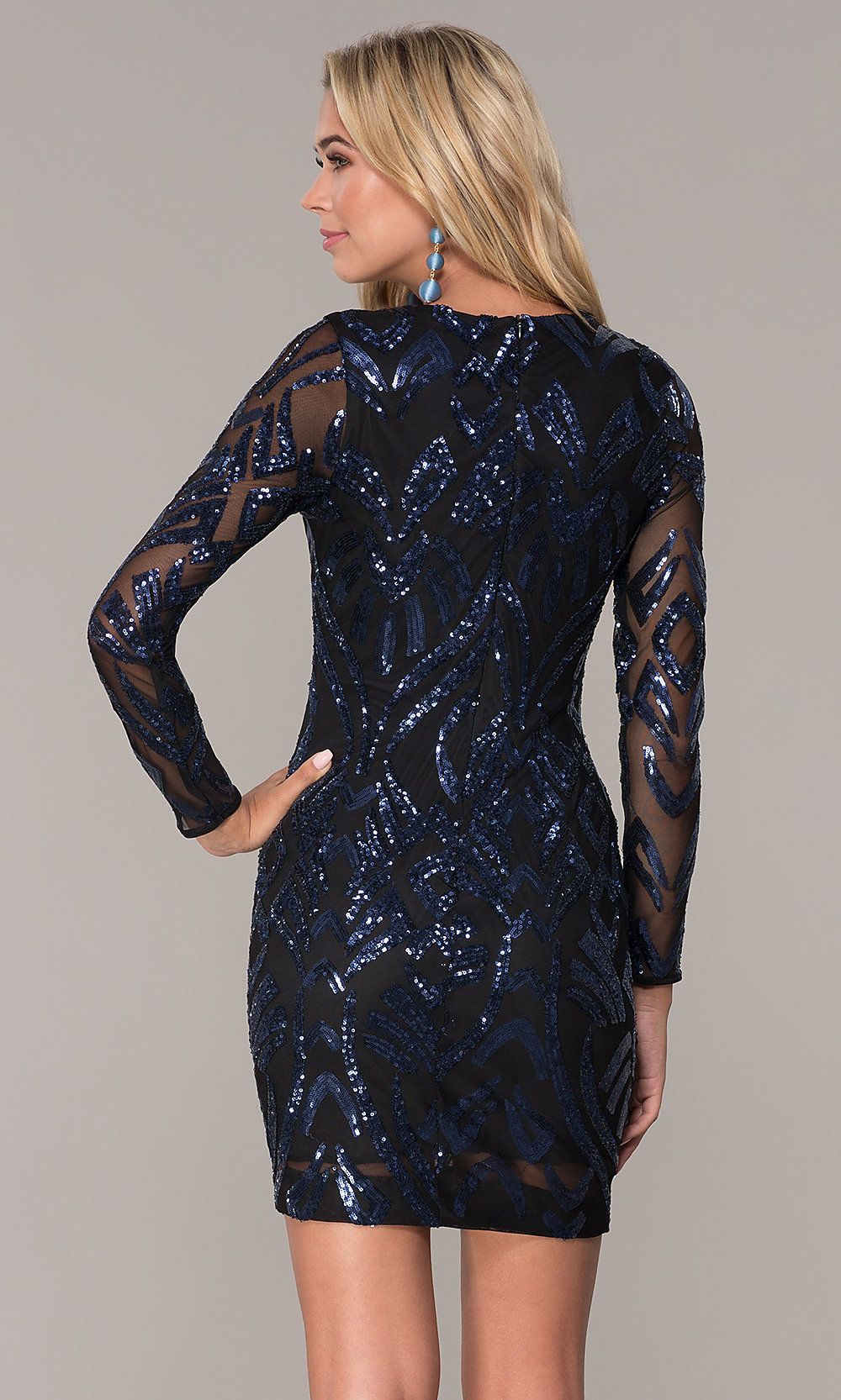7bfbef32921 Long-Sleeve Short Navy Blue Holiday Dress by Simply in 2019