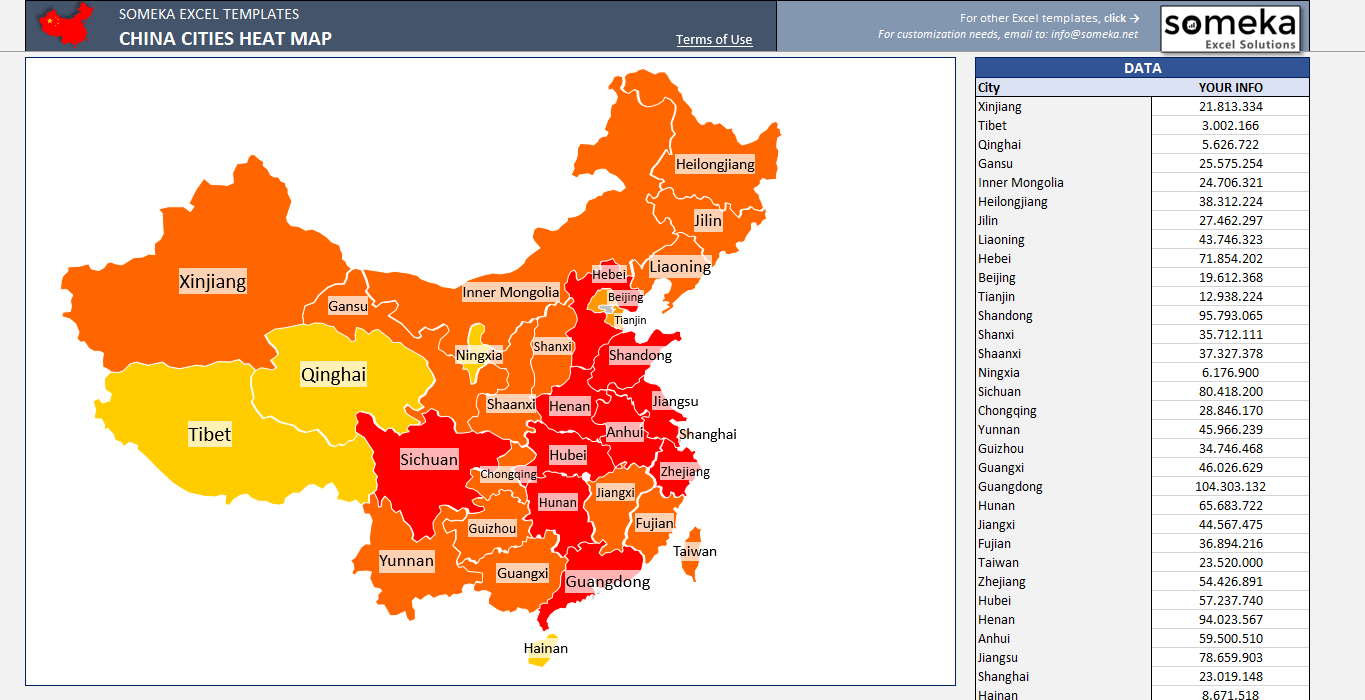 China Geographic Heat Map Generator | Geographic Heat Map ...