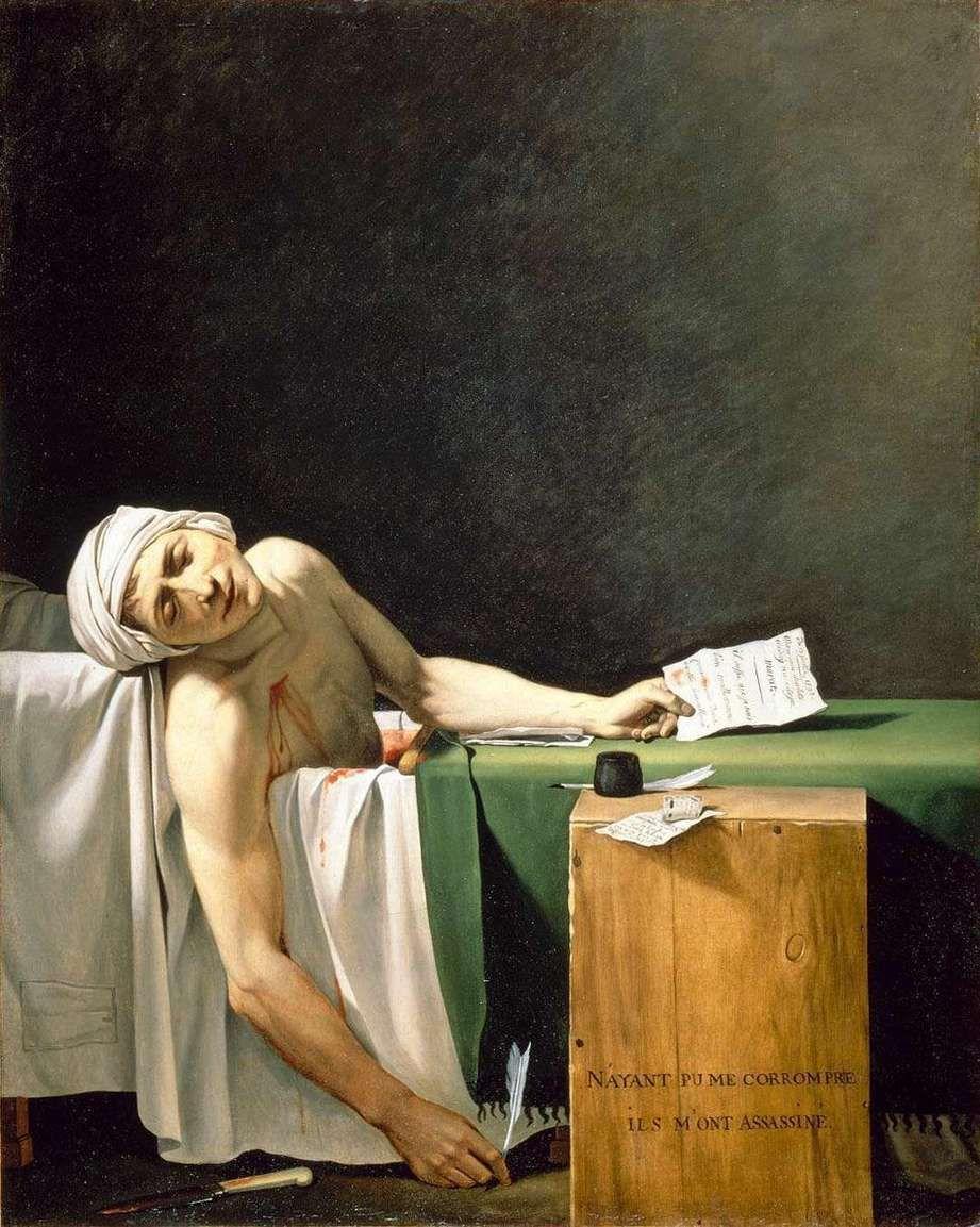 Marat assassiné ❘ 1793 ❘ Jacques-Louis David (copie modifiée de G.G. Serangelid) (article complet en suivant le fil)