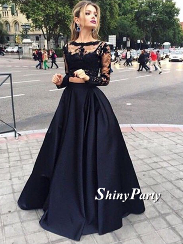 Round Neck Long Sleeves 2 Pieces Black Lace Prom Dresses, Black ...