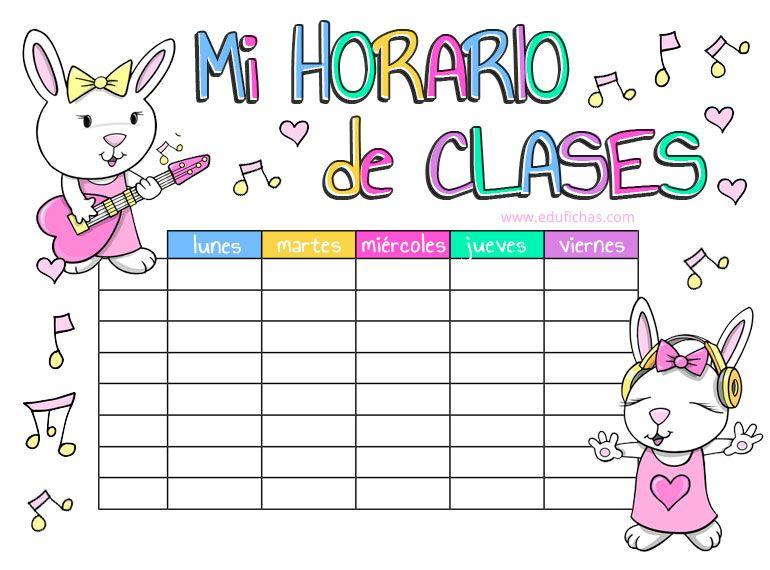Curso 2018 2019 Horarios Para Imprimir Horario De Clases Horarios Para Imprimir Horario Escolar Imprimible