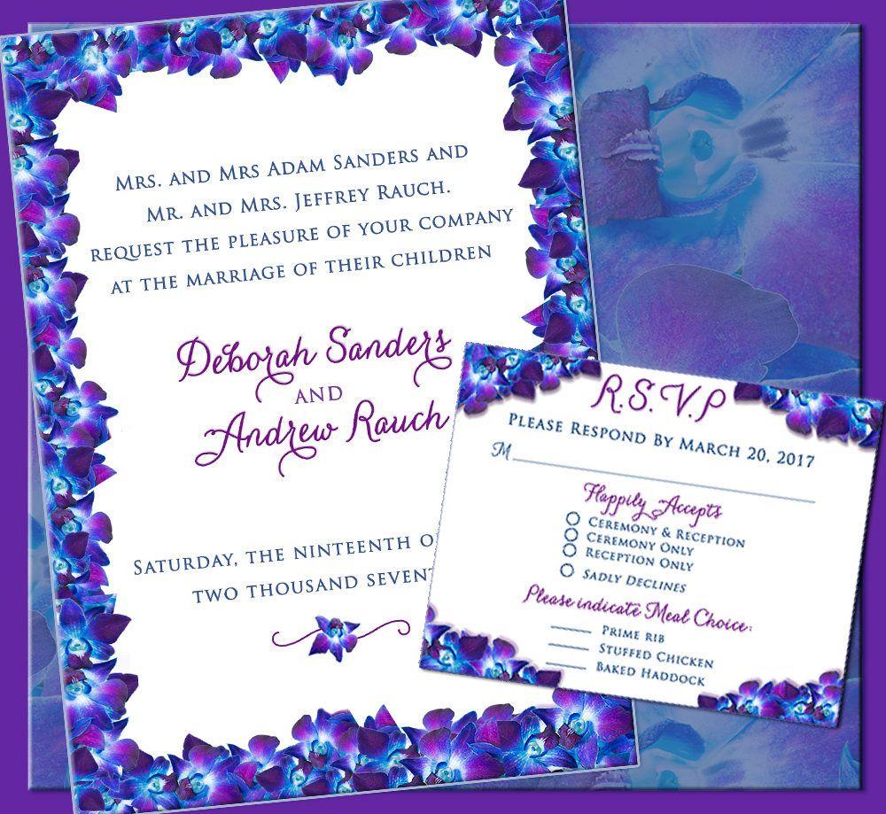 Blue Purple Orchid Design Wedding, Dendrobium Wedding Invitation ...