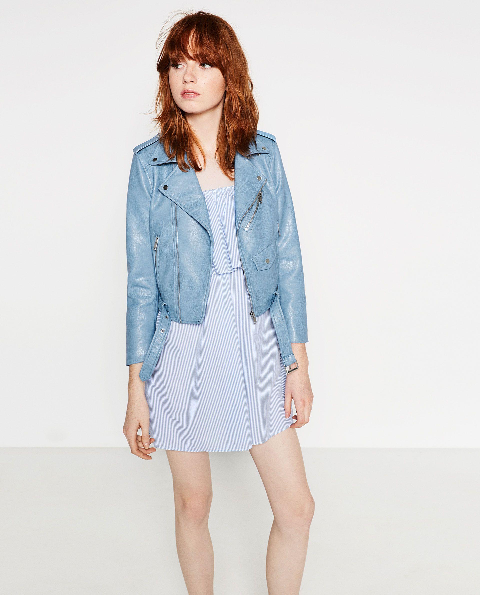 ZARA BLUE FAUX LEATHER JACKET Womens fashion jackets