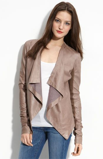 Hinge® 'Waterfall' Leather Jacket - I want this in a dark color